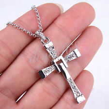 18K White Gold Filled Stylish CROSS Crystal Pendant + Chain Necklace Set H003