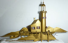 "HUGE Signed Curtis C Jere 53"" Lighthouse Dock Nautical Mix Metal Wall Sculpture"