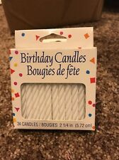 American Greetings  Count 24 Party Supplies White Striped Spiral Candles NEW