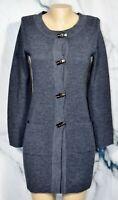 ELLEN TRACY Dark Gray Long Cardigan Sweater Small Long Sleeves Acrylic Wool Blnd