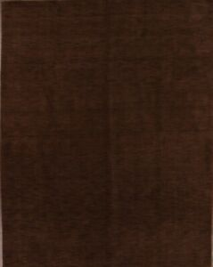 Contemporary Solid Mocha Brown Gabbeh Oriental Hand-Knotted Wool 9'x12' Area Rug