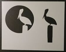 """Pelican Stork 2-Layer with Sun / Moon 11"""" x 8.5"""" Stencil FAST FREE SHIPPING"""