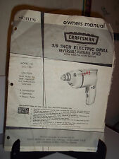 "Sears Craftsman 3/8"" Electric Drill Owners Manual"