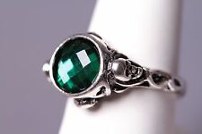 Pirates of the Caribbean Jack Sparrow Style Skull Ring w/Green Gemstone Size 6