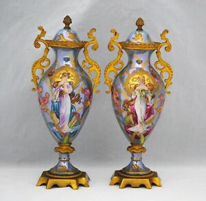 Pair of Sevres Covered Urns Vases with Art Nouveau Woman and Bronze Mounts