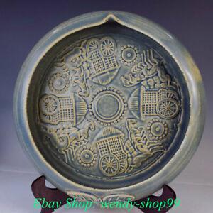 "13"" Rare Old Chinese Yue Kiln Porcelain Dynasty Palace brush washer Plate Tray"