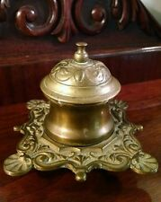 Brass Inkwell Pot Handsome Federal Style Vintage Antique Desk Top Accessory