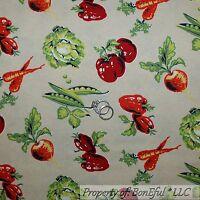 BonEful Fabric FQ Cotton Quilt Green Red Pepper Sweet Pea Vegetable Garden Farm