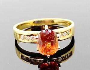 GIA Certified NO HEAT Natural 1.55ctw Orange SAPPHIRE DIAMOND RING 14k GOLD