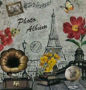 Large Self Adhesive Photo Album Hold Various Sized Picture Up to A4 Eiffel Tower