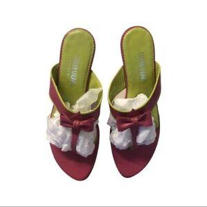 "Steven Salario Beautiful pink 1"" heel bow shoes"