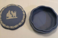 Wedgwood Vintage Jasperware Blue White Covered Trinket Box Dish Made in England