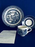 CHURCHILL CLASSIC BLUE WILLOW 3 PIECE SET DINNER PLATE CUP AND SAUCER
