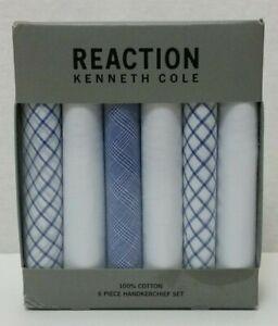 Reaction Kenneth Cole 100% Cotton Blue White 6 Piece Handkerchief Set