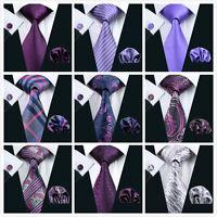 New Classic Purple Mens Silk Wedding Tie Hanky Cufflinks Set Formal Business