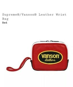 NEW Supreme / Vanson Leather Wrist Bag Red SS17 box logo black wallet cdg pouch