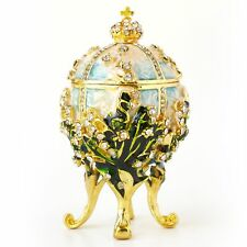 Hand-Painted Vintage Style Faberge Egg with Rich Enamel and Sparkling