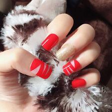 24pcs Nail Tip Artificial False Acrylic Design Fake French Full Nails Art Sets