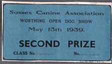 VINTAGE LITHO 1939 2ND PRIZE CANINE DOG SHOW CARD SUSSEX WORTHING LONDON ENGLAND