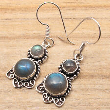 Plated Modern Fashion Jewellery Authentic Labradorite Earrings ! Silver