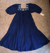 Vtg New Old Stock70s Women's  CoBalt Blue MEXICAN EMBROIDERED DRESS Womens Large