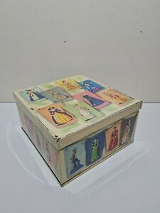 Vintage 1950's Elkes London Biscuit Cake Tin Fashions Through Time 9x9.5x5 Inch