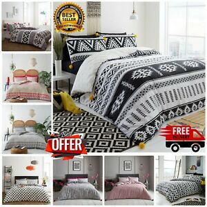 LUXURY DUVET COVER SET Reversible Bedding Quilted Pillowcases SINGLE DOUBLE KING