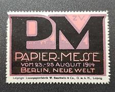 Cinderella Poster Stamp Germany Papier Messe Neue Welt Berlin 1914 (7590)