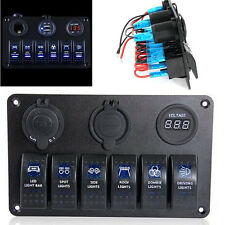 12V 6 GANG ROCKER SWITCH PANEL CAR MARINE BOAT CIRCUIT LED BREAKER + VOLTMETER