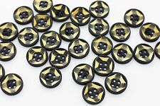 Dark Brown Wooden Buttons Four Holes Yellow Small Round Wood Craft 15mm 100pcs
