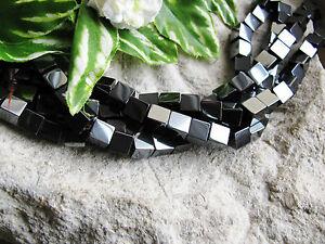 1 Strang Hämatit Würfel 6mm schwarz, Blutstein, Edelstein Perlen basteln, Quader