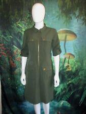 Sharagano Gray Green Zipper Shirt Dress Size 6 Women's (E)