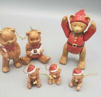 6 Ceramic Teddy Bear Christmas Ornaments 1 Vintage w/ Moving Arms & Legs Tree