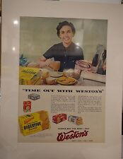 Original 1955 Vintage Advert mounted ready to frame Weston's Digestive Biscuits