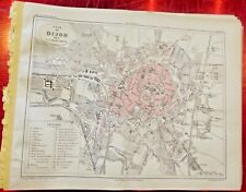 Old Map 1900 France Département Côte d'or plan de Dijon Conservatoire Palais