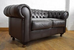 Chesterfield leather button back 2 seater sofa settee