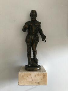 Bergmann Bronzefigur Skulptur Bergbau Kumpel Steiger mit Hacke Kohle Antik Deko