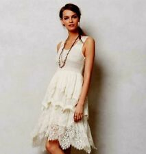 NWOT Anthropologie free people lace peplum tulle lined embroidered dress XS