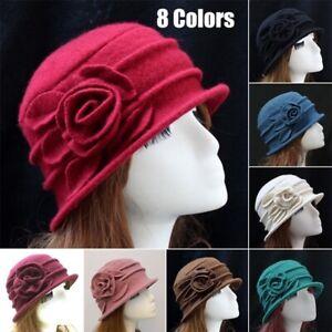 Women 100% Wool Rose Flower Bucket Hat Felt Church Bowler Cloche Cap Winter Warm