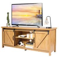 "TV Stand Media Center Console Cabinet Sliding Barn Door for TV's 60"" Golden Oak"