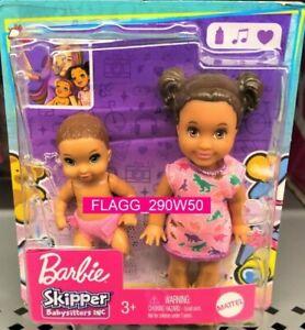 Barbie Skipper BABYSITTERS INC African American Siblings Doll 2 Pack Boy Girl