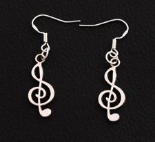"""Treble Clef Dangle Earrings (1"""" inch) Silver Plated Music Jewellery Drop Earring"""