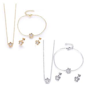 "Stainless Steel Set Necklace Earring Bracelet Zirconia Star Gold Silver 17"" P733"