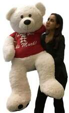 Giant Valentine Teddy Bear 52 Inch Soft White Wears T-shirt I LOVE YOU THIS MUCH
