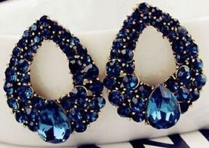 Beautiful Dark Blue Water Drop Diamante Earrings Stud Pierced Ears Tear UK E30