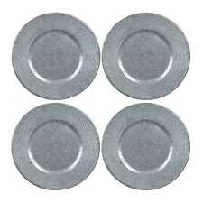 """Galvanized Ribbed Metal Charger Plates 13"""" Set of 4"""