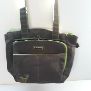 Gerber Diaper Bag Green /Brown Baby Kids Moms Mommy 2 Straps Pockets Zip Used