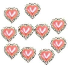 10pcs Flatback Pearl Peach Heart Embellishment Buttons for Scrapbooking Pink