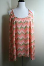 ZOUK PINK & GREEN FLOWY TANK TOP CUT OUT STRAPS CHEVRON PATTERN SIZE LARGE L