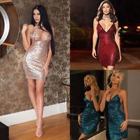 Women's Sequin Plunge Slinky Strappy Bodycon Clubwear Party Cocktail Mini Dress